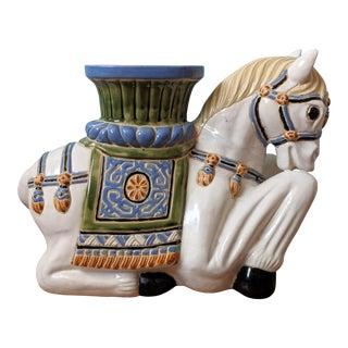 Vintage Boho Chic Porcelain Horse Garden Stool/ Plant Stand For Sale