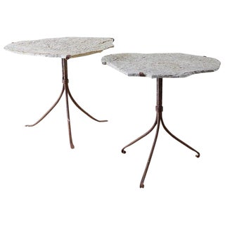 Pair of Live Edge Granite and Iron Drink Tables For Sale