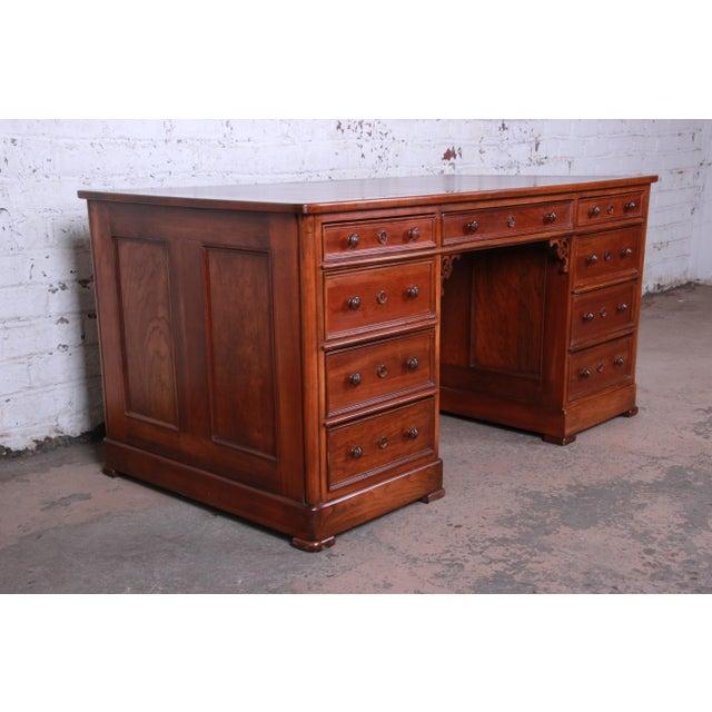 Harden Furniture Harden Sleepy Hollow Collection Leather Top Partner Desk For Sale - Image 4 of 12