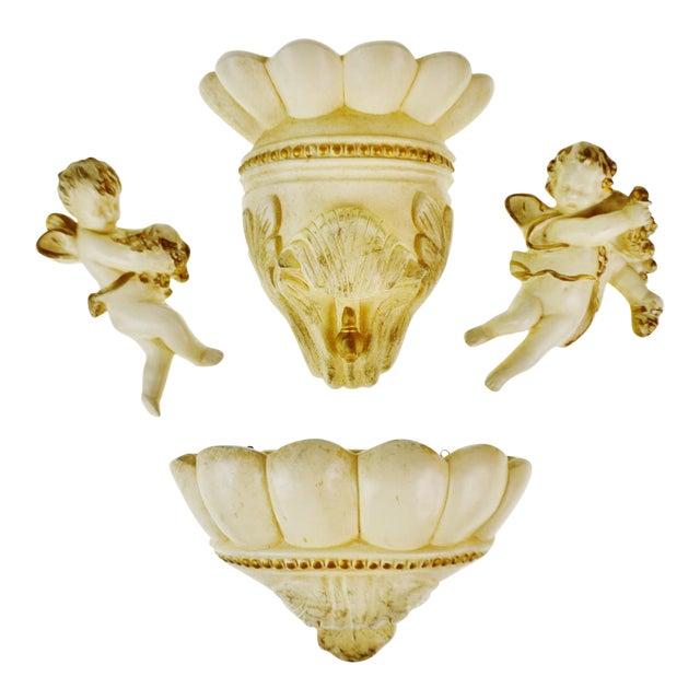 Vintage Ceramic Cherub Lavabo Wall Fountain Wall Pocket - Image 1 of 10