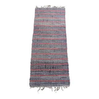 Vintage Striped Rag Rug Runner For Sale