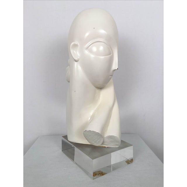 Vintage Mid-Century Alien Bust Sculpture on Lucite - Image 7 of 9