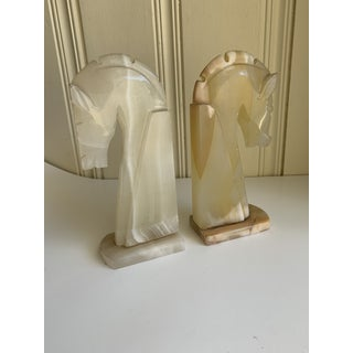 Vintage Alabaster Horse Head Bookends, a Pair Preview