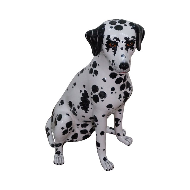 Vintage Italian Pottery Dalmatian Dog Statue For Sale