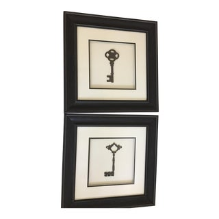 Framed Antique Keys - a Pair Wall Decor