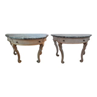 Antique Italian Painted and Giltwood Neoclassical Style Console Tables-Pair For Sale