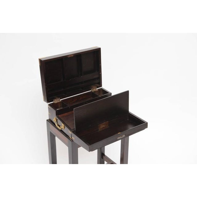 Late 19th Century British Campaign Rosewood Lap Desk on Custom Stand For Sale - Image 4 of 6
