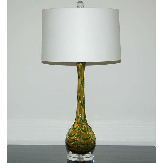 Italian Vintage Murano Glass Table Lamps Gold Green For Sale - Image 3 of 9