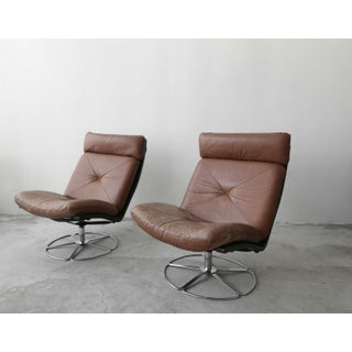 Pair of Mid Century Leather and Chrome Armless Swivel Danish Style Lounge Chairs Preview