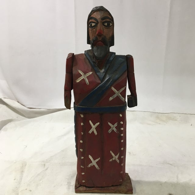 Figurative Vintage St. Peter & St. Paul Wood-Carved Hand-Painted Christian Icon Santos Figures - a Pair For Sale - Image 3 of 12