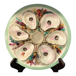 Hand Painted Oyster Plate F For Sale
