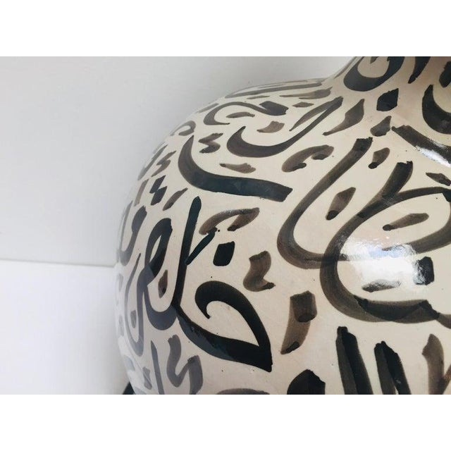 Large Moroccan Glazed Ceramic Vase With Arabic Calligraphy Black Writing Fez For Sale - Image 11 of 12