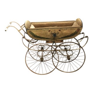 19th Century Continental Wood and Canvas Perambulator For Sale