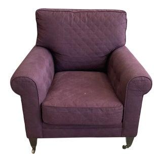 Tim Clarke Deep Purple Armchair with Wheels For Sale