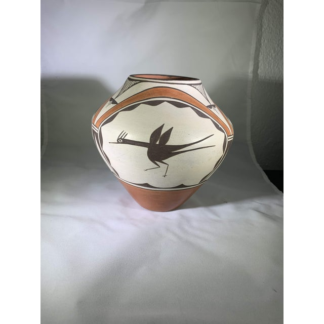Southwest Zia Pueblo Roadrunner Polychrome Pottery For Sale - Image 9 of 12