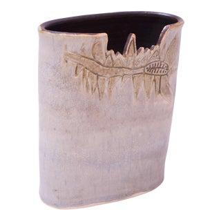 1976 Pale Blue Matte Glaze Studio Stoneware Vase by Pollack For Sale