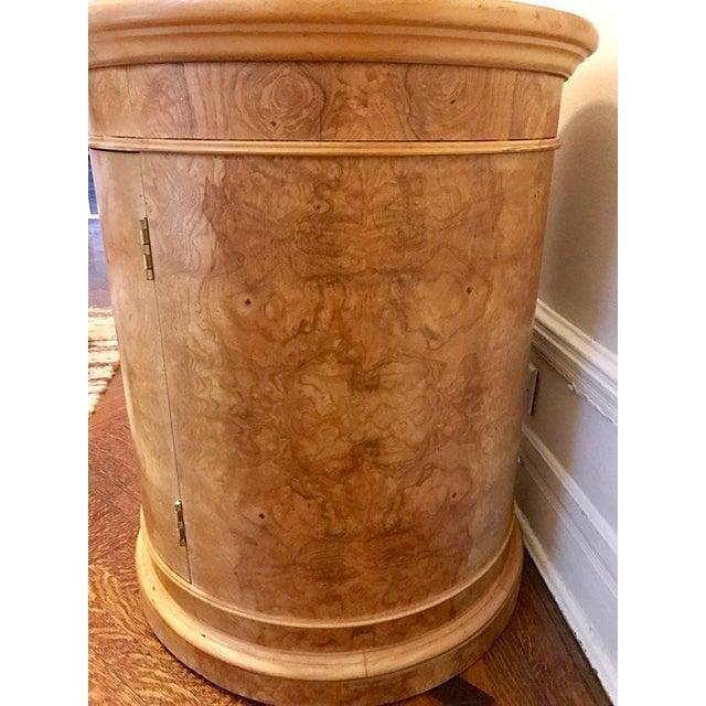 Vintage Milo Baughman Style Burl Drum Table - Image 4 of 5