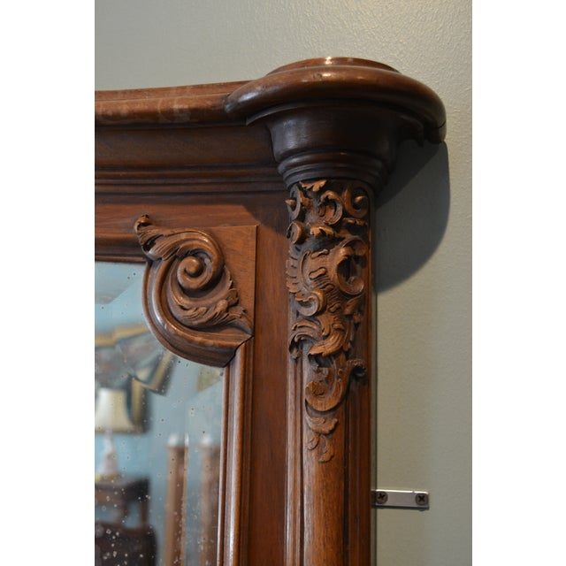 Traditional Antique French Walnut Mirror For Sale - Image 3 of 6