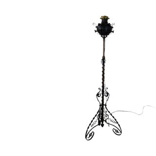 Bradley & Hubbard Antique Wrought Iron Floor Lamp Electrified For Sale