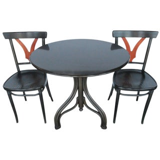 1950s Vintage Thonet Table and Chairs- 3 Pieces