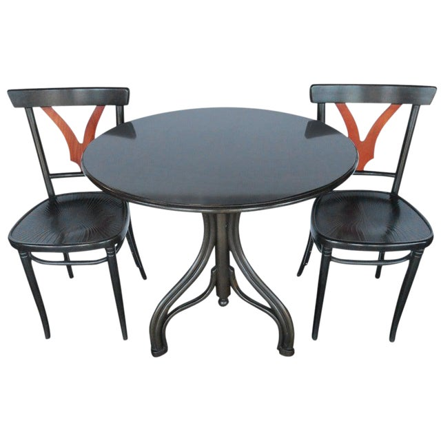 1950s Vintage Thonet Table and Chairs- 3 Pieces For Sale