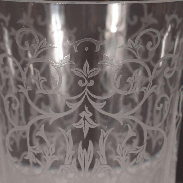Crystal French Mid-Century Modern Foliate Etched Crystal Vase by Baccarat For Sale - Image 7 of 9