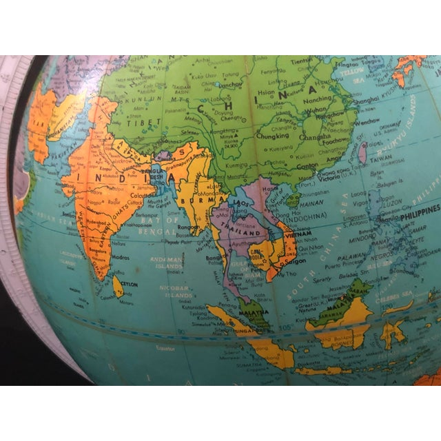 1970s Vintage Blue Replogle Table Globe With White Base For Sale - Image 11 of 13