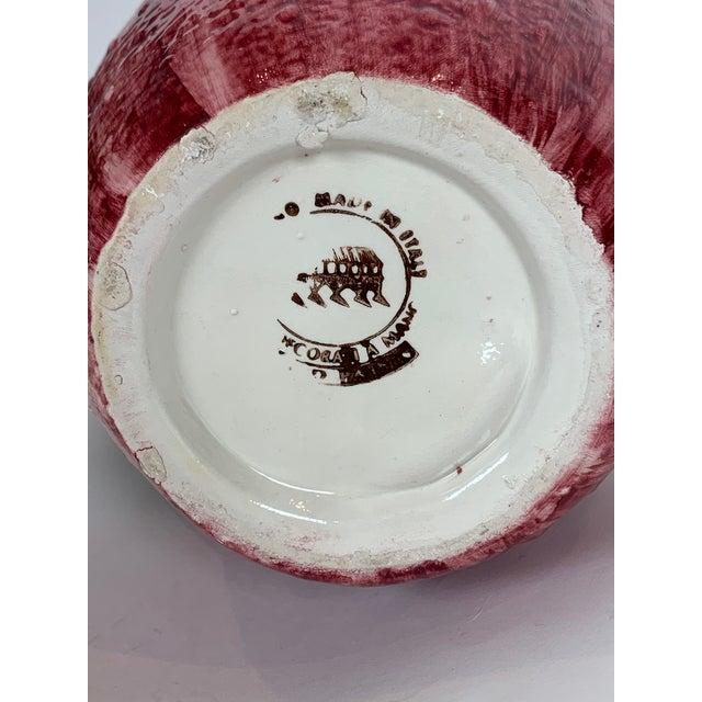 Ceramic Vintage Majolica Strawberry Signed Pitcher For Sale - Image 7 of 8