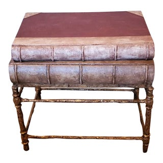 Spanish Faux Distressed Stacked Book Gilded Bronze Side Table For Sale