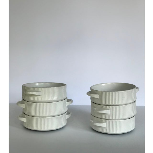 Vintage Mid Century Modern White Ribbed Cordalite Cookware Set - 9 Pieces For Sale - Image 4 of 11