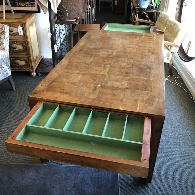 Wood Custom Parquet Extension Dining Table For Sale - Image 7 of 13