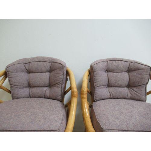 1970s Vintage Ficks Reed Rattan Bamboo Arm Chairs -A Pair For Sale - Image 5 of 11