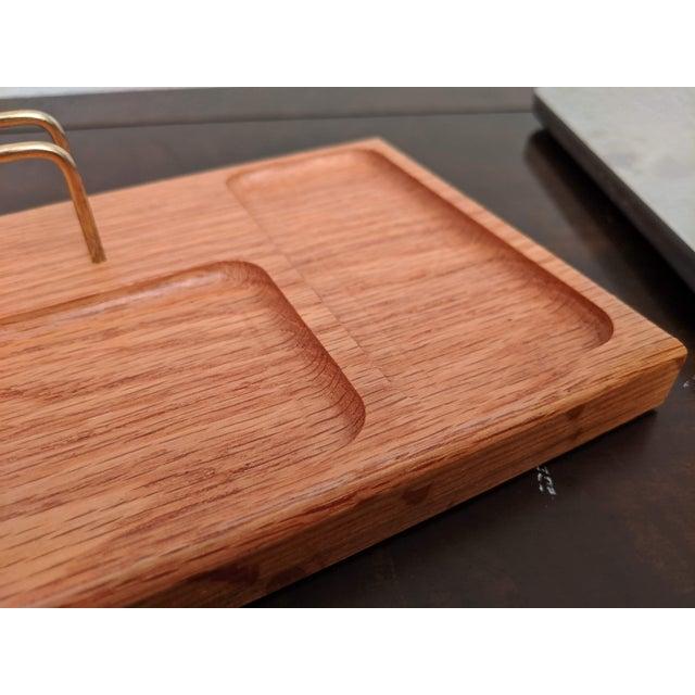 1970s Boho Chic Organic Modern Oak + Brass Desk Valet For Sale - Image 5 of 6