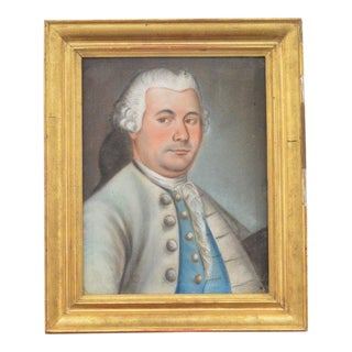 Antique Painting of a Gentleman in Gray and Blue For Sale