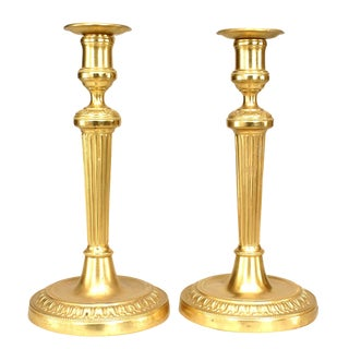 Pair of French Louis XVI 19th Century Style Gilt Bronze Fluted Candlesticks For Sale