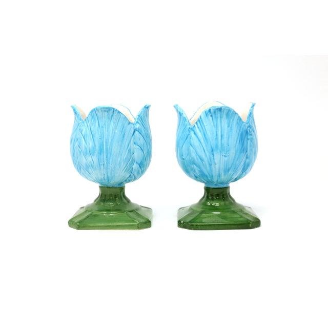 Ceramic Blue Tulip Planters - a Pair - Image 10 of 10