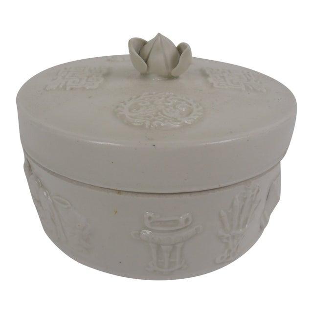 1920s Chinese Round Ceramic Box For Sale