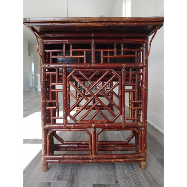 Antique Chinese Chippendale Frettwork Altar Console Table For Sale In Charleston - Image 6 of 13