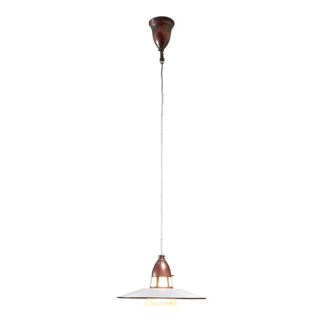 Lyfa Metal, Copper and Glass Pendant, Denmark, 1930s For Sale