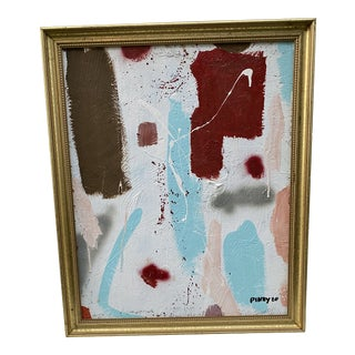 Contemporary Abstract Painting With Gold Frame For Sale