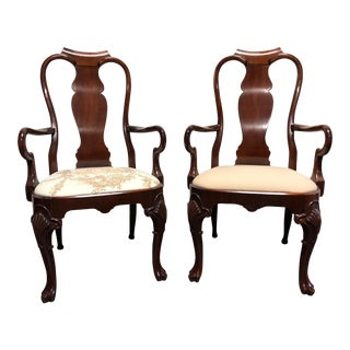 Solid Mahogany Queen Anne Dining Captain's Arm Chairs - Pair For Sale