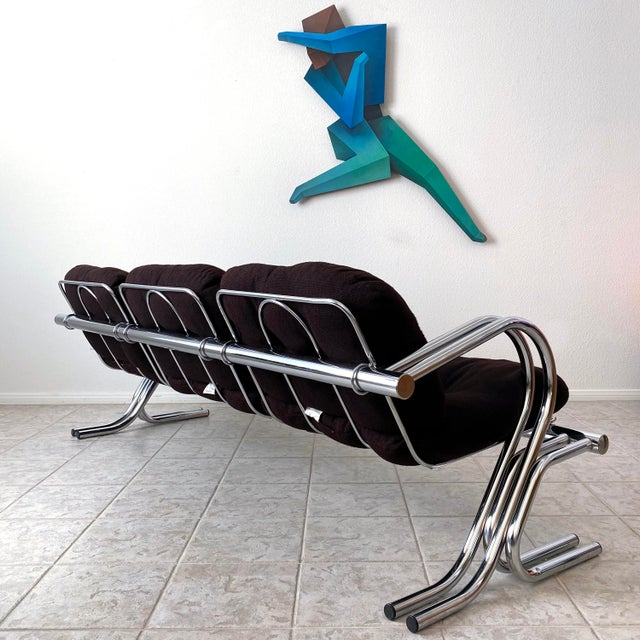 Metal Mid Century Modern Jerry Johnson Chrome Sofa For Sale - Image 7 of 12