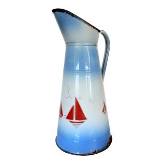 Large French Enamel Blue & White Seascape Pitcher or Jug - Red Yachts For Sale