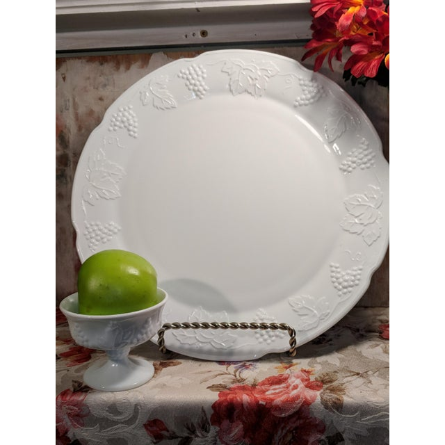 Vintage Milk Glass Serving Plate/Pedestal Dessert Dish With Grapevine Pattern For Sale - Image 11 of 13