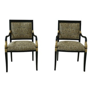 Pair Ethan Allen Neoclassical Black & Gold Open Armchairs For Sale