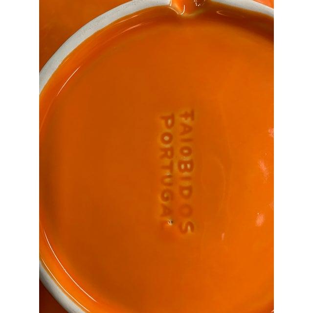 Mediterranean Portuguese Handmade Orange Ceramic Lettuce Plates - Set of 12 For Sale - Image 3 of 4