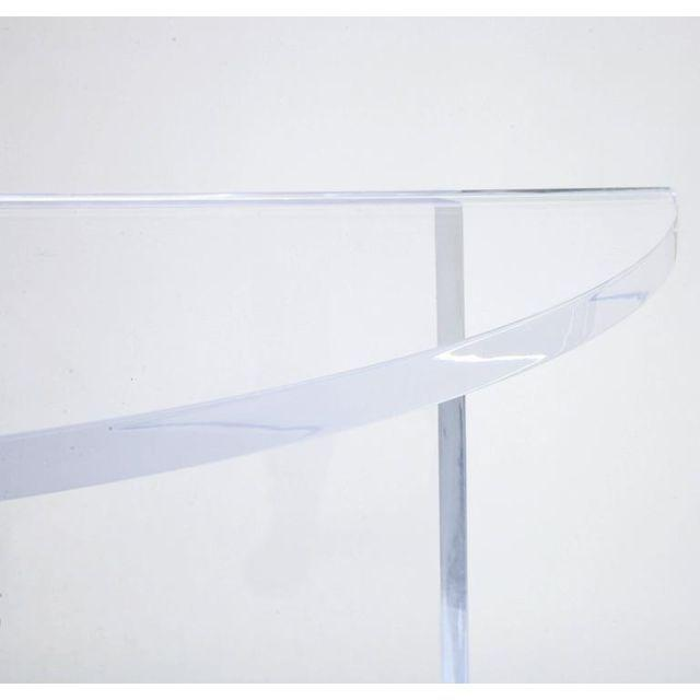 Custom Designed Charles Hollis Jones Style Demilune Clear Lucite Console - Showroom Sample For Sale - Image 9 of 12