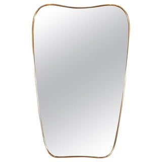 Italian Amorphic Mid-Century Modern Atomic Bowed Shield Form Brass Mirror For Sale