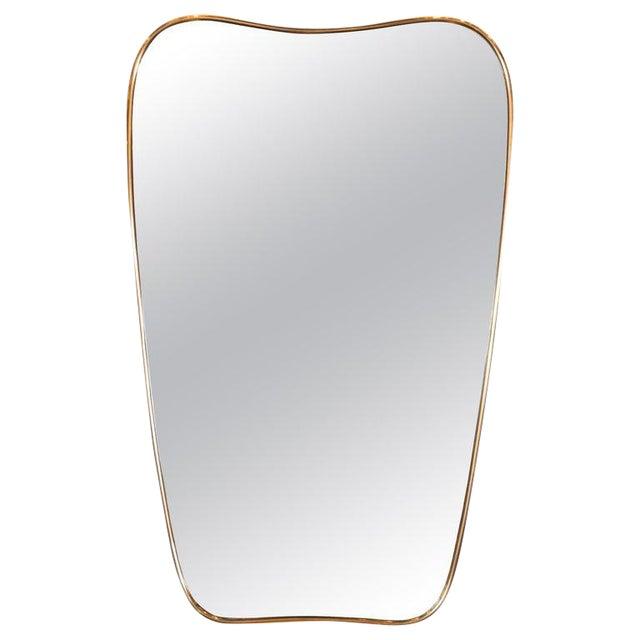 Italian Amorphic Mid-Century Modern Atomic Bowed Shield Form Brass Mirror For Sale