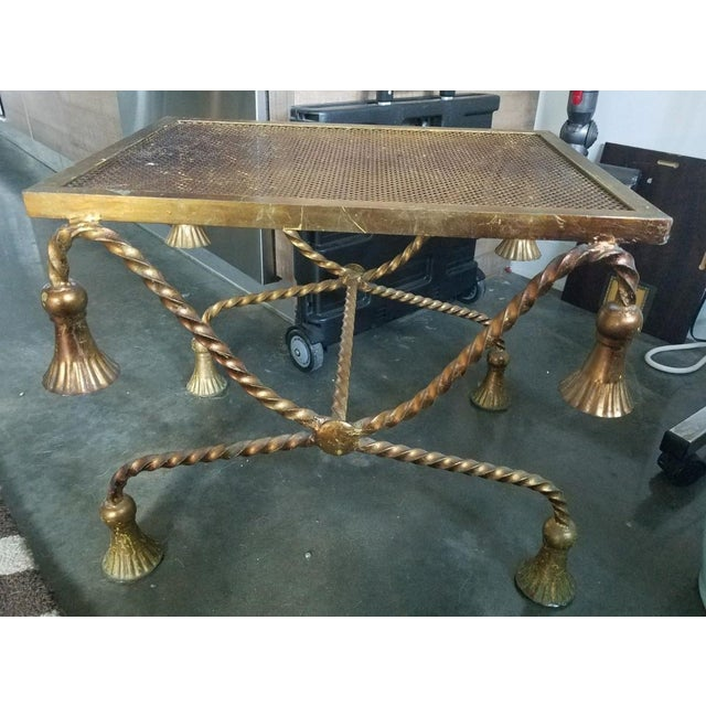 Chic Hollywood Regency Italian Gilt Tole Rope Tassel Bench sold as found with some wear to finish but without damage to...